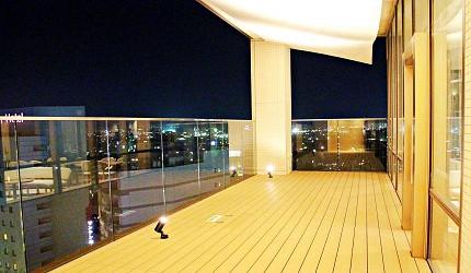 金澤推薦住宿旅館飯店 HOTEL WING INTERNATIONAL Premium金沢駅前天空藝廊戶外陽台空間可看夜景