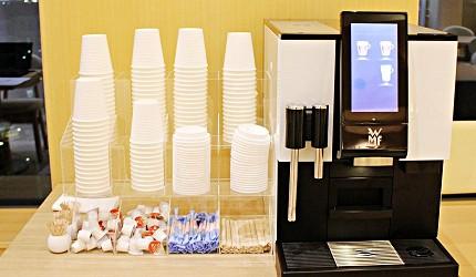 金澤推薦住宿旅館飯店 HOTEL WING INTERNATIONAL Premium金沢駅前,大廳免費咖啡可飲用