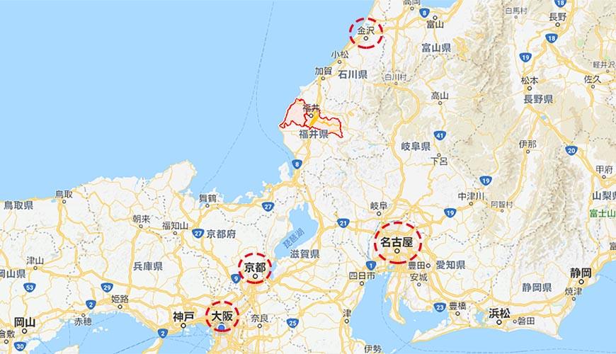 日本越光米的故鄉北陸「福井」地理位置地圖