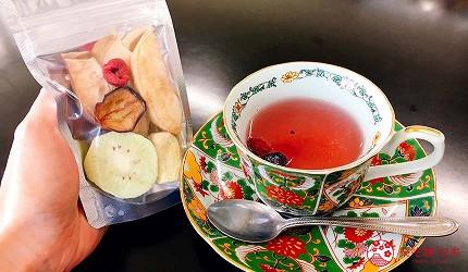 日本越光米的故鄉北陸「福井」的乾燥花水果乾店家「FruColle」的水果乾與茶