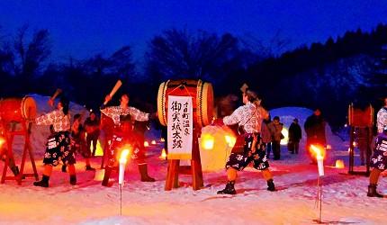 2019越後妻有大地藝術祭附近的「雪美洞祭」的御實城太鼓表演