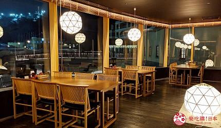 日本新潟「樂天新井度假村」(ロッテアライリゾート)的和食自助餐餐廳「朝日」的餐廳一景