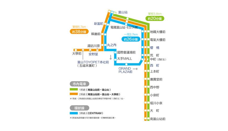 经营在富山市中多个观光热点中穿梭的有轨电车的富山地方铁道提供的3条路缐的路缐图
